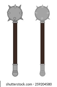 Medieval knight steel warrior wood handle spike mace. Color clip art raster illustration isolated on white. Contour, no contour