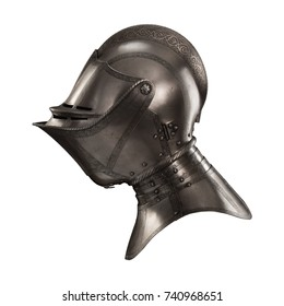 medieval knightly Italian helmet Armet, period of the 16th century, on a white background.