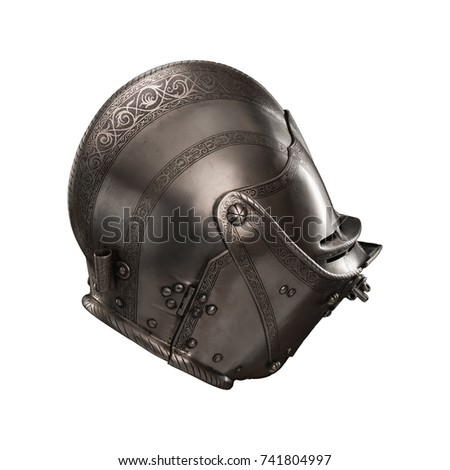 Medieval Knightly Italian Helmet Armet Period Stock Photo