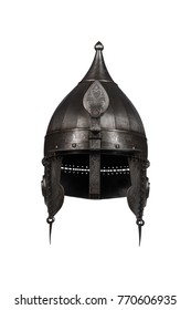medieval knight's helmet Checak with ornament on a white background