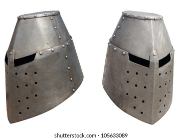 Medieval knight's helmet on a white background