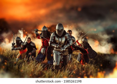 Medieval knights on battle field