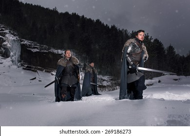 Medieval knights Prepare for battle as style Game of Thrones in Winter Rock Landscapes