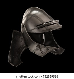 medieval knight's steel helmets on a black background