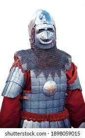 Medieval knight's steel suit of armor isolated on white.