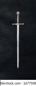 medieval knight's sword on a black background