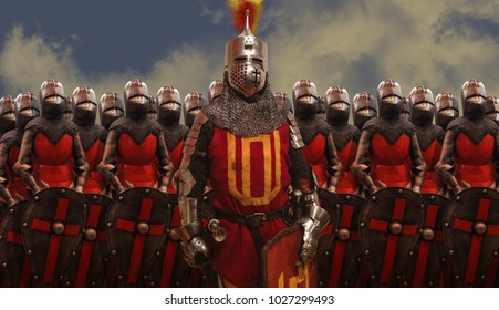 Medieval knights warriors standing ready for the fight