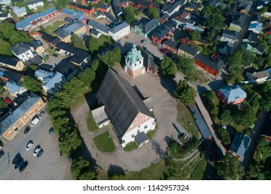 Medieval Lutheran Cathedral in the city landscape. View from above. Porvoo, Finland