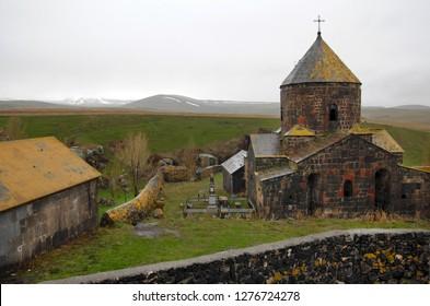 Medieval Makenis Monastery in Makenis village. Gegharkunik (Sevan) Region, Armenia.