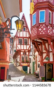 The medieval market square of Bernkastel-Kues, Germany. The twin town of Bernkastel-Kues is regarded as the most popular town and center of the Middle Moselle.