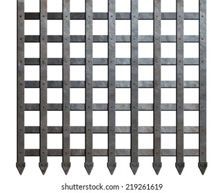 Medieval metal gate lattice isolated on white