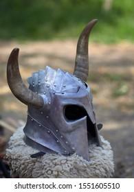 Medieval metal helmet istoric festival