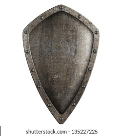 medieval metal shield isolated on white