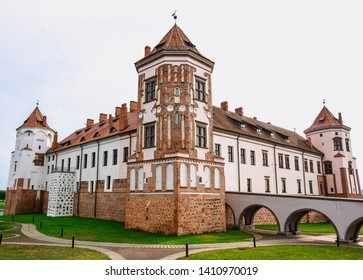 Medieval Mir Castle Complex (Belarus) with white sky background