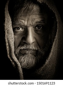 medieval monk face dark look