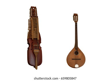 Medieval music instruments Nyckelharpa and Irish bouzouki over the white background