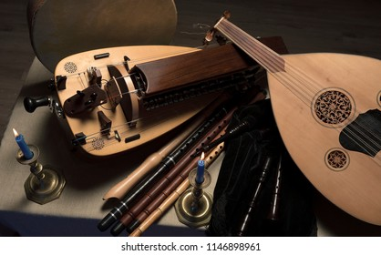 Medieval musical instruments, lute, flutes, hurdy-gurdy and tambourines