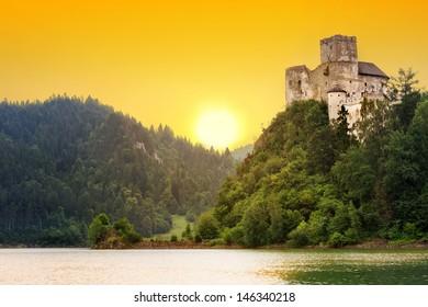 Medieval Niedzica Castle at Czorsztyn Lake in Poland