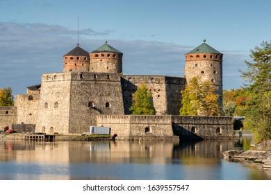 Medieval Olavinlinna castle in Savonlinna at autumn in Finland