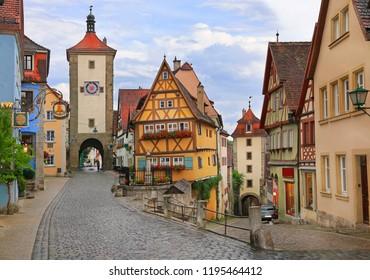 Medieval old street in Rothenburg ob der Tauber , Germany