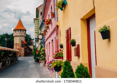Medieval old town, Carpenters tower and Cetatii street in Sibiu, Romania
