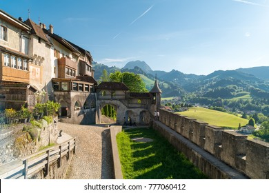 The medieval Old Town of Gruyeres is an important tourist location and is name giving to the famous Swiss Gruyere cheese. Gruyeres, Canton Fribourg, Switzerland