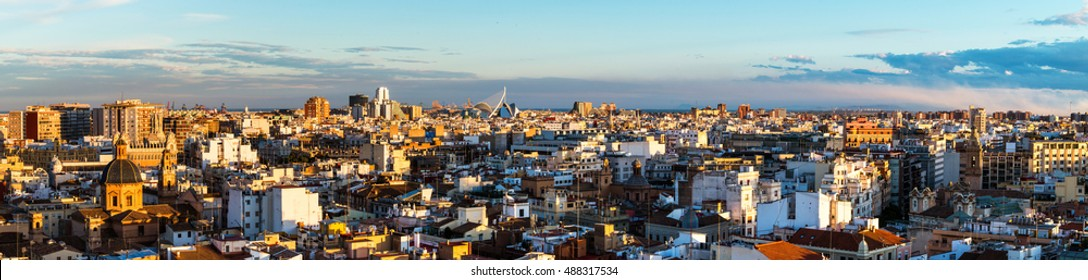 Medieval old town of Valencia. Panoramic view of a third largest city in Spain. It is popular tourist destination with famous ancient and modern architecture landmarks.