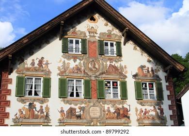 medieval painted houses of Oberammergau in Bavaria, Germany