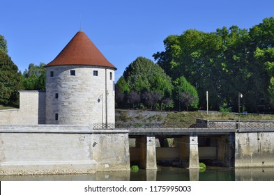 The medieval Pelote Tower along the Doubs River in Besancon, France