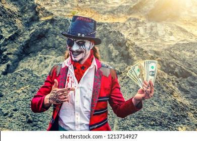medieval pirate bandit robber holds dollars in one hand and shows them with other hand. greedy smile
