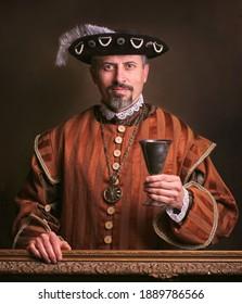 Medieval portrait of man in king costume.  - Shutterstock ID 1889786566