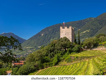 Medieval Powder Tower above Meran, South Tyrol