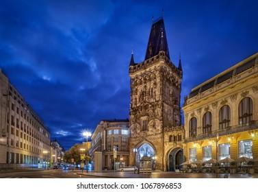 Medieval Powder Tower at dusk in Prague, Czechia