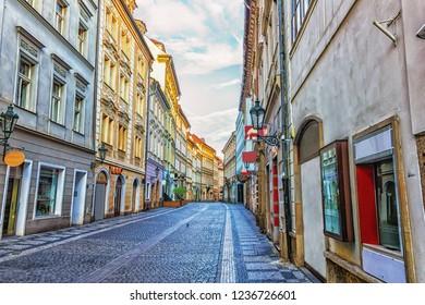 Medieval Prague Street in Old town, no people