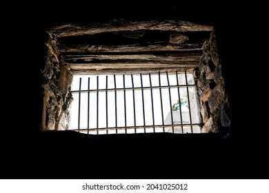 Medieval prison window from the inside
