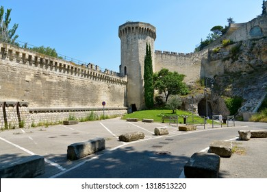 Medieval ramparts at Avignon, a commune in south-eastern France in the department of Vaucluse on the left bank of the Rhône river, famous by his bridge.