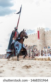 medieval rider first during the celebration of the medieval market in Avila, Spain, in September 2018