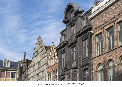 Medieval roofs in the downtown of Ghent, Belgium, in a sunny day in the beginning of spring.