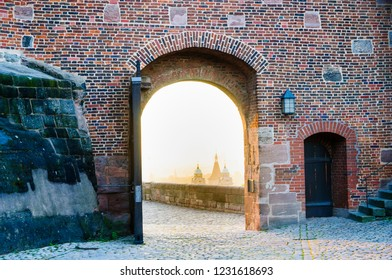 Medieval royal castle and houses behind the fortress wall, Nuremberg Castle