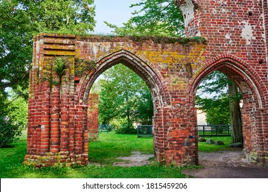 Medieval ruined monastery in a public park in Greifswald, Germany.
