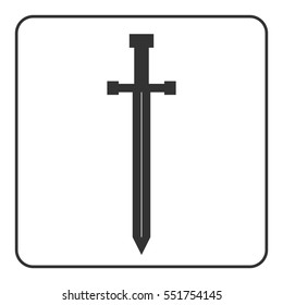 Medieval sharp sword icon. Gray silhouette, isolated on white background. Symbol ancient knight, warrior, weapon and victory, battle, templar. Flat style. Military historic design. illustration