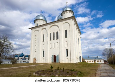 Medieval St. George's Cathedral in Svyato-Yrev Monastery on the April day. Veliky Novgorod, Russia