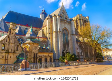Medieval St. Michael church cathedral in Ghent or Gent, Belgium, Sint Michielskerk