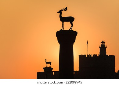 Medieval statue of deer where the Colossus of Rhodes may have stood, Greece