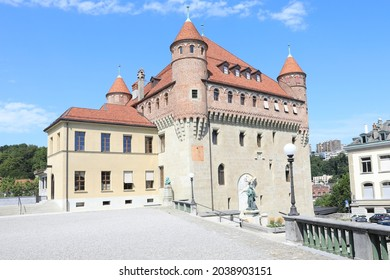 Medieval Château Ste-Maire in downtown of Lausanne, Vaud, Switzerland, 08-16-2021