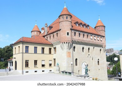 The medieval Château Ste-Maire in Lausanne, Canton of Vaud in Switzerland, 08-16-2021