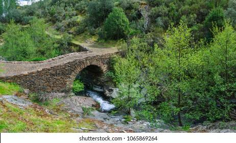 A medieval stone bridge