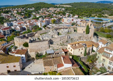 Medieval stone castle of Catalonia on the rock in Spain. Main landmark of Calafell town