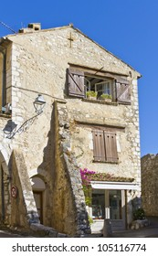 Medieval Stone house. Famous village of Saint-Paul-de-Vence is a commune in the Alps-Maritimes department in southeastern France - one of the oldest medieval towns on the French Riviera.