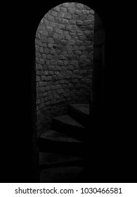 Medieval stone spiral staircase, steps going up to ground floor. Medieval dungeon. Stone steps framed by arched doorway. Going down the basement of a castle. Black and white.